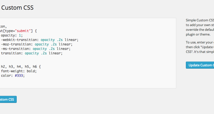WordPress Basit CSS Eklentisi